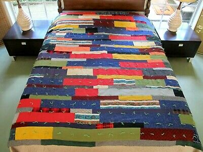 QUEEN Vintage Pennsylvania, Amish Style Wool & Corduroy Hap Heavy STRING QUILT