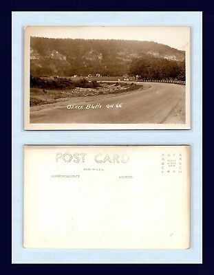 Missouri Ozark Bluffs Route 66 Real Photo Postcard Ansco Back Circa 1945