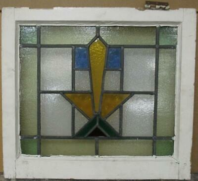 "OLD ENGLISH LEADED STAINED GLASS WINDOW Pretty Geometric Burst Design 21"" x 19"""