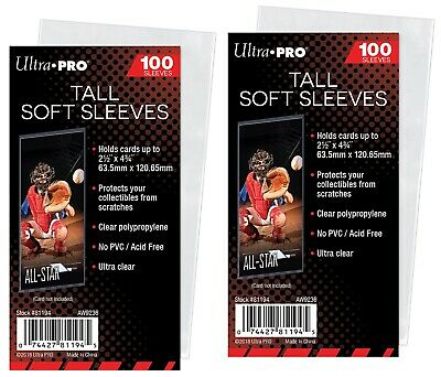 Ultra Pro 2 1/2 x 4 3/4 Soft Card Sleeves for Tallboy trading cards, 200 count