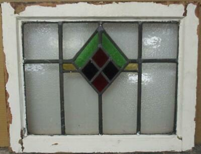 "OLD ENGLISH LEADED STAINED GLASS WINDOW Pretty Geometric Design 20.5"" x 16.25"""