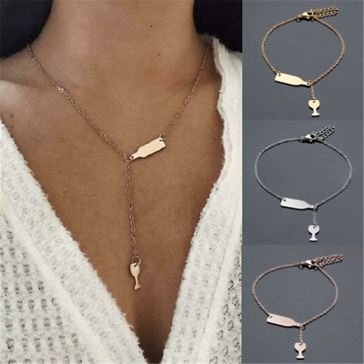 Fashion Women's Wine Beer Cup Bottle Pendant Stainless Steel Necklace Jewelry