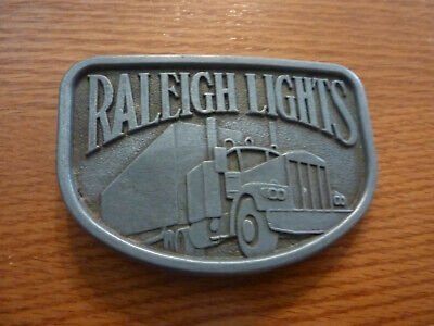 "Nwot Vintage Unbranded Pewter Trucker Belt Buckle ""Raleigh Lights"" - 1 3/4"" Belt"