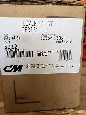 CM Series 653 Lever Hoist/Comealong 3/4 Ton with 15' of Chain