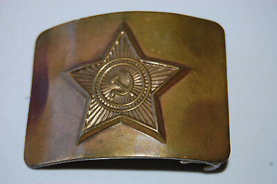 Vintage Wwii Russian Army Ussr Solid Brass Uniform Belt Buckle Rare