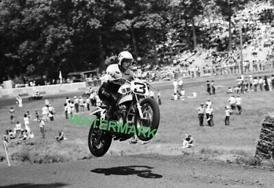 Professional Motorcycle Racer Gene Romero In Action 1974 Peoria PUBLICITY PHOTO