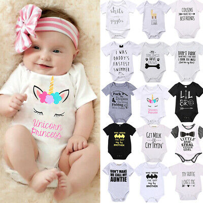 Newborn Kids Baby Boy Girl Cotton Romper Bodysuit Summer Clothes Outfit Sunsuit