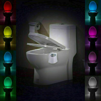 8-Led Toilet Seat Light Night Motion Active Auto Sensor Bathroom Bowl Glow Lamps