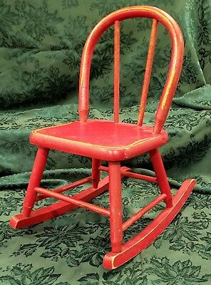 Vintage Appleton Furniture Company Child's Wooden Rocking Chair Doll Kid Red USA