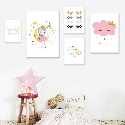 Cute Princess Nursery Poster Wall Art Canvas Print Picture Girls Room Decoration