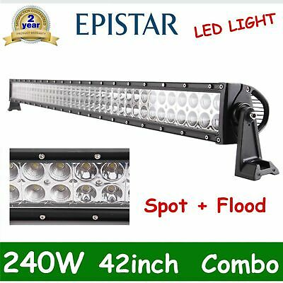 """Curved 42Inch 240W Led Work Light Bar Spot Flood Tractor Off Road Boat Pk 40/44"""""""