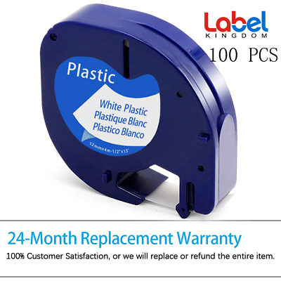 100PK Compatible for Dymo LT 91331 Refill WHITE Plastic LetraTag Label Tape 12mm
