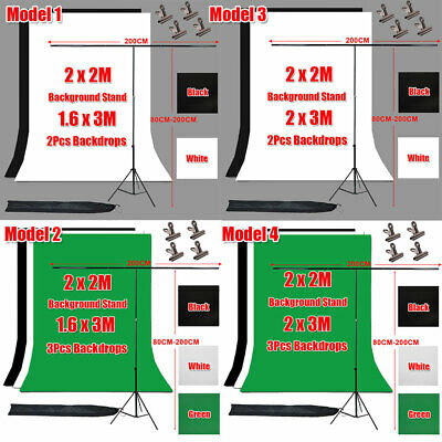 Photo Studio Black White Green Screen Backdrop Background Support Stand Kit