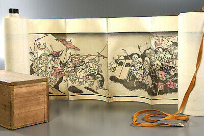 KYOSAI HYAKKI GADAN 19thC. Japanese woodblock print scroll yokai monster ghost