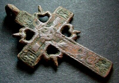 ANCIENT BRONZE CROSS RARE. RELIGIOUS ARTIFACT 17 - 18 CENTURY. 37 mm. (R.011)