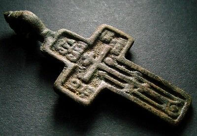 ANCIENT BRONZE CROSS RARE. RELIGIOUS ARTIFACT 18-19 CENTURY. 55 mm. (F.122)