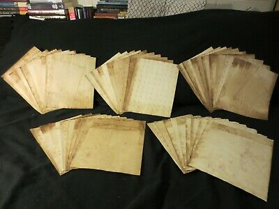 Lot of 50 Tea/Coffee Hand Dyed Papers, Plain - Junk Journal Mixed Media L345