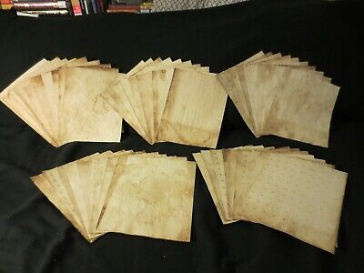 Lot of 50 Tea/Coffee Hand Dyed Papers, Plain - Junk Journal Mixed Media L346