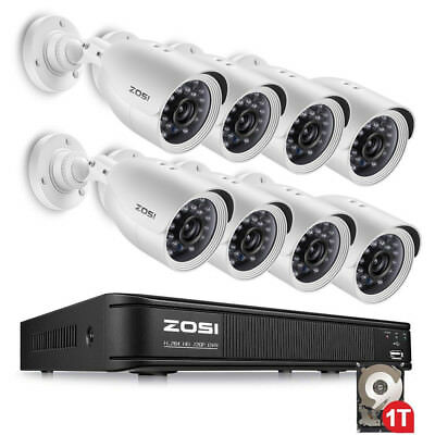 ZOSI 0-1TB HDD  8CH 720P CCTV Security Outdoor Camera DVR Night Vision System