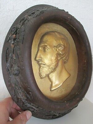 Important Signed Early 19th Century Gentleman Relief Plaque - Fine Acorn Frame