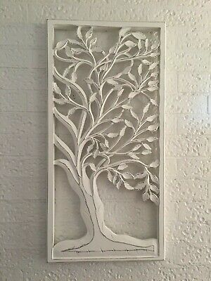 90 CM Tall Rustic White Wood Carved Distressed Tree of Life Wall Art Hanging