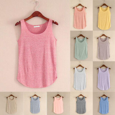 CA Womens Stretch Sleeveless Tank Blouse Ladies Cotton Camisole Vest Tops Cami