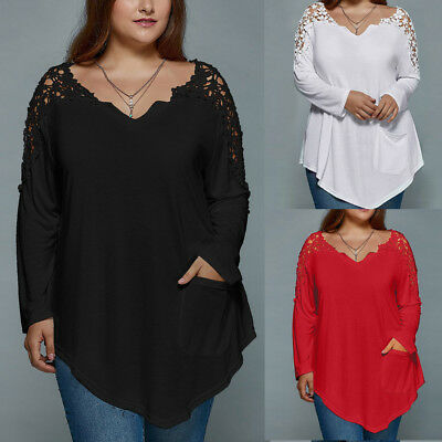 OverSize Fashion Summer Lady Lace Womens Long Sleeve T-shirt Casual Top Blouse