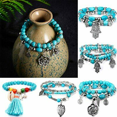 Vintage Turquoise Multi-layer Beaded Beads Cuff Bohemia Bracelets Set Bangle Hot