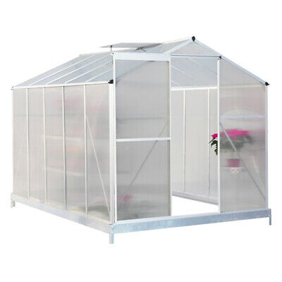 Silver Aluminium Greenhouse Polycarbonate Base Sliding Door UV Safe Plant Grow