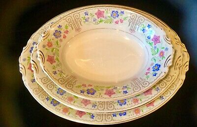 """Syracuse China/Blossom Time Pattern/Old Ivory 14"""" and 12"""" Platter, 10"""" Bowl"""