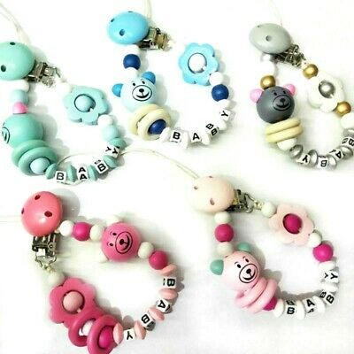 *UK Seller* Baby Boys Girls Clip On Wooden Beads Pacifier Chain Dummy Leash