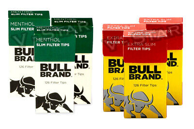 New Bull Brand Extra Slim Filter Tips & Extra Slim Menthol Filter Tips Boxes