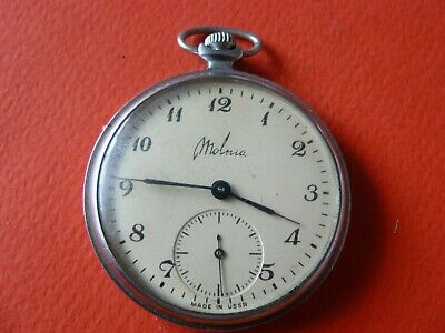 Vintage Russian  MOLNIA Pocket Watch Open Face USSR 1970's cal.3602 18 jewels