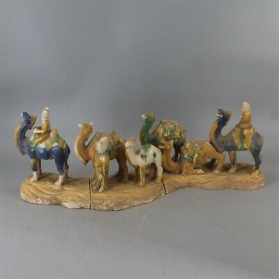 """26"""" Chinese antique Porcelain Tri colored glazed pottery man ride camel statue"""