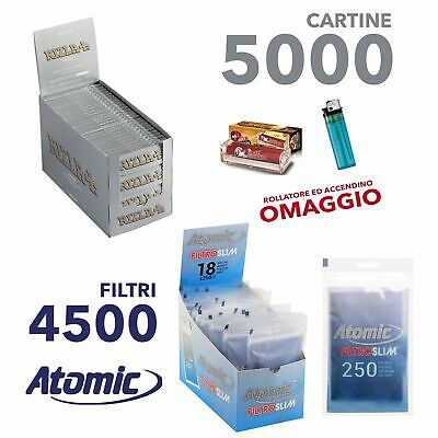 5000 cartine Rizla silver grigie corte e 4500 Filtri Atomic SLIM 6 mm