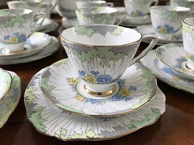 Vintage Royal Staffordshire Art Deco 40 Piece English Bone China Tea Set.