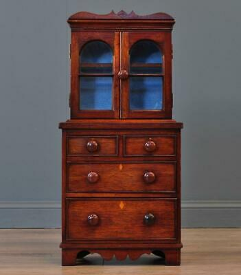 Miniature Antique Victorian Apprentice Mahogany Bookcase Over Chest Of Drawers
