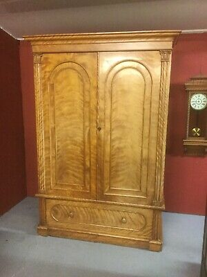 Antique Victorian Satinwood Wardrobe Sn-585a