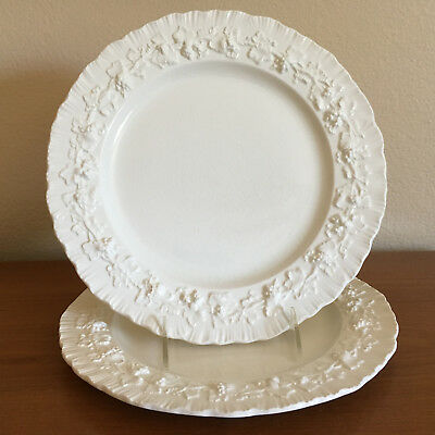2 Wedgwood Queensware Cream w/Cream Shell Edge Dinner Plates Grapevines England
