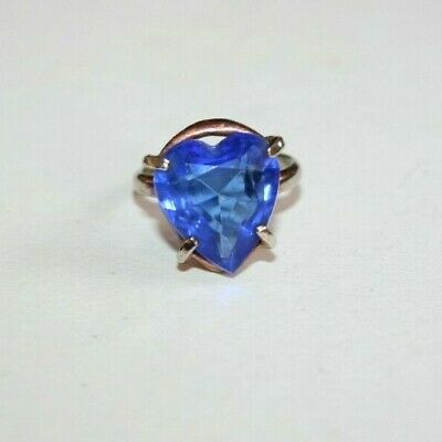 VINTAGE c.1950s LARGE HEART CUT 'CEYLON BLUE' CRYSTAL SOLITAIRE RING