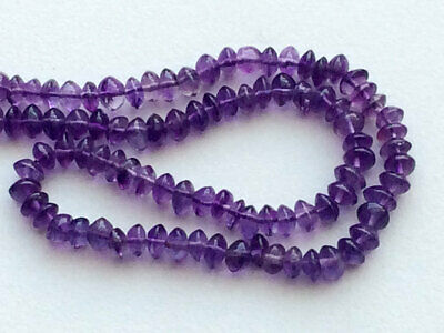 """13"""" Amethyst Beads, Amethyst Plain Rondelle Buttons, Amethyst Necklace, 4.5-5mm"""