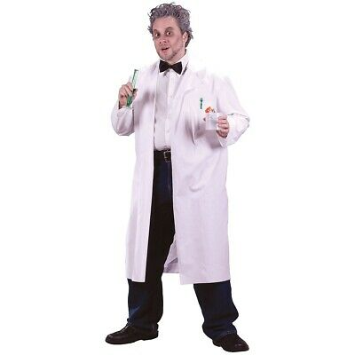 White Lab Coat Adult Crazy Scientist Doctor Halloween Costume Fancy Dress