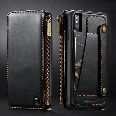 Wallet Genuine Leather Case Holder Zipper Pocket for iPhone X XS XR MAX 6 7 8