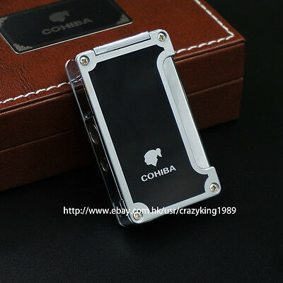 Cohiba  Classic Black Cigar lighter With Cigar Punch Torch  Jet Frame Windproof