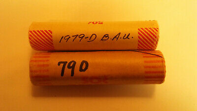 Two Uncirculated rolls(50 coins each) of 1979-D Lincoln Memorial Cents.