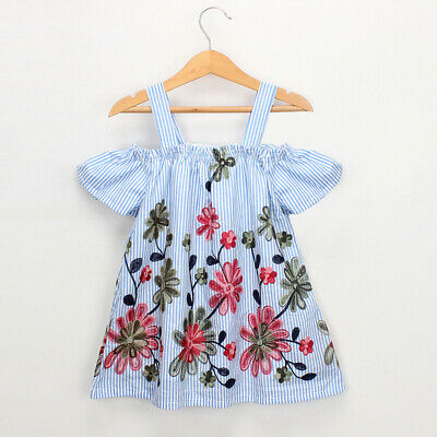 UK Toddler Kids Baby Girls Cotton  Floral Embroidery Stripe Party Princess Dress