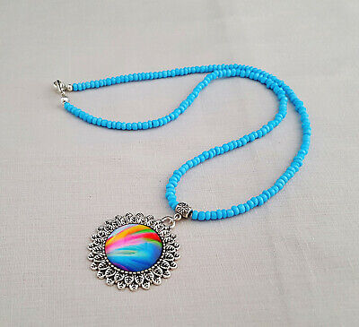 Turquoise necklace with rainbow glass pendant - 1001479