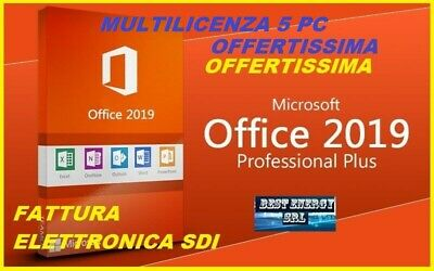 MICROSOFT OFFICE 2019 PROFESSIONAL PLUS 32/64 BIT  ESD LICENZA 5 pc fattura