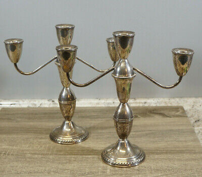 "Duchin Creations Sterling Silver Weighted 3 Candle Candelabra Set 10"" Tall"