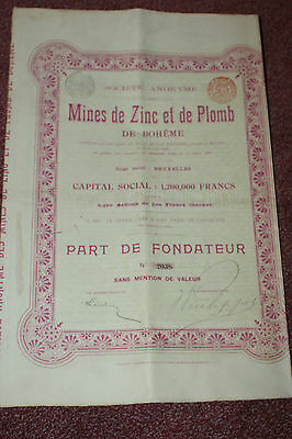 Lot de 5 ACTIONS/PART Mines de Zinc et de Plomb/1900